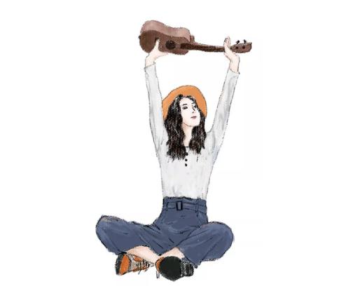 手绘教程——简约个性女孩的插画